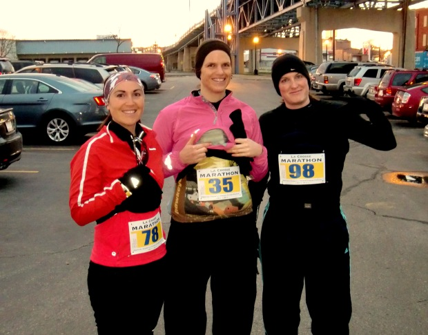 "(from left) Hayley, Evonne, and Rachel before the La Crosse Half Marathon, or what Evonne named as ""our movement excursion"". Expectations were low and no land speed records broken - but we finished!"